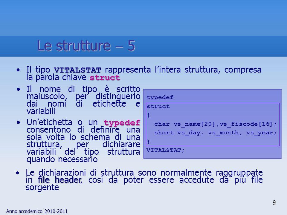 Anno accademico 2010-2011 Il nome di tipo è scritto maiuscolo, per distinguerlo dai nomi di etichette e variabili typedefUnetichetta o un typedef consentono di definire una sola volta lo schema di una struttura, per dichiarare variabili del tipo struttura quando necessario file headerLe dichiarazioni di struttura sono normalmente raggruppate in file header, così da poter essere accedute da più file sorgente VITALSTAT structIl tipo VITALSTAT rappresenta lintera struttura, compresa la parola chiave struct typedef struct { char vs_name[20],vs_fiscode[16]; short vs_day, vs_month, vs_year; } VITALSTAT; 9 Le strutture 5