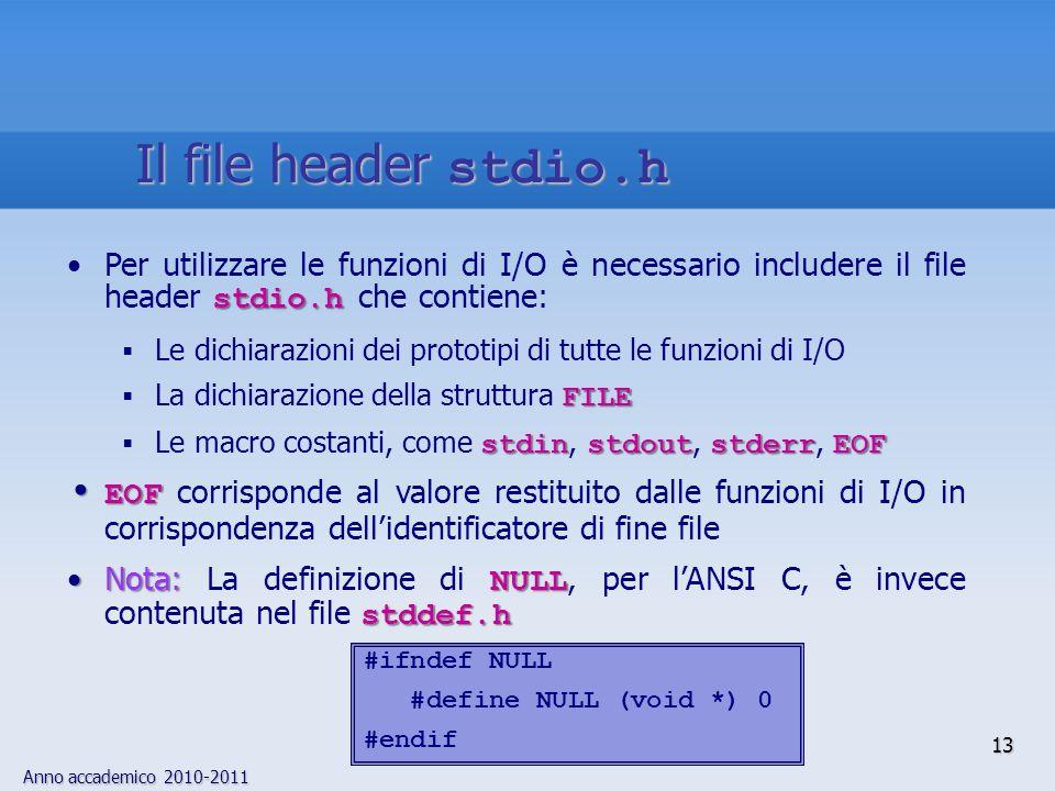 Anno accademico 2010-2011 13 Il file header stdio.h stdio.hPer utilizzare le funzioni di I/O è necessario includere il file header stdio.h che contiene: Le dichiarazioni dei prototipi di tutte le funzioni di I/O FILE La dichiarazione della struttura FILE stdinstdoutstderrEOF Le macro costanti, come stdin, stdout, stderr, EOF EOF EOF corrisponde al valore restituito dalle funzioni di I/O in corrispondenza dellidentificatore di fine file Nota: NULL stddef.hNota: La definizione di NULL, per lANSI C, è invece contenuta nel file stddef.h #ifndef NULL #define NULL (void *) 0 #endif