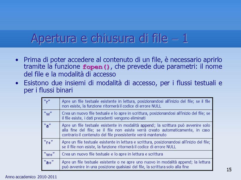 Anno accademico 2010-2011 15 Apertura e chiusura di file 1 fopen()Prima di poter accedere al contenuto di un file, è necessario aprirlo tramite la funzione fopen(), che prevede due parametri: il nome del file e la modalità di accesso Esistono due insiemi di modalità di accesso, per i flussi testuali e per i flussi binari r Apre un file testuale esistente in lettura, posizionandosi allinizio del file; se il file non esiste, la funzione ritornerà il codice di errore NULL w Crea un nuovo file testuale e lo apre in scrittura, posizionandosi allinizio del file; se il file esiste, i dati precedenti vengono eliminati a append Apre un file testuale esistente in modalità append ; la scrittura può avvenire solo alla fine del file; se il file non esiste verrà creato automaticamente, in caso contrario il contenuto del file preesistente verrà mantenuto rr Apre un file testuale esistente in lettura e scrittura, posizionandosi allinizio del file; se il file non esiste, la funzione ritornerà il codice di errore NULL ww Crea un nuovo file testuale e lo apre in lettura e scrittura aa Apre un file testuale esistente o ne apre uno nuovo in modalità append; la lettura può avvenire in una posizione qualsiasi del file, la scrittura solo alla fine