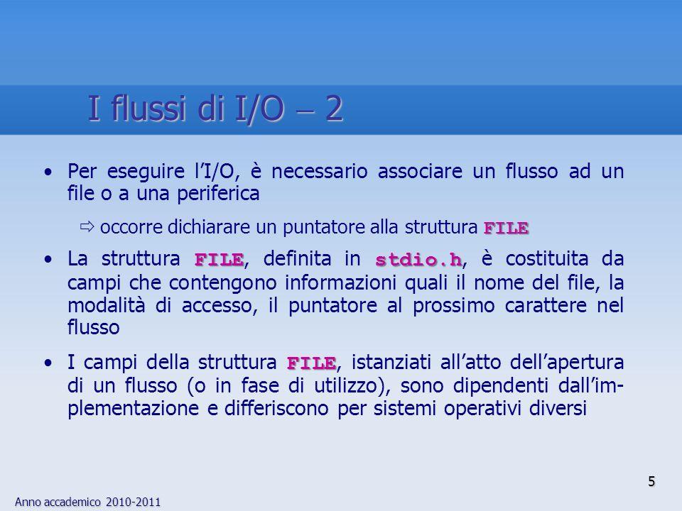 Anno accademico 2010-2011 5 I flussi di I/O 2 Per eseguire lI/O, è necessario associare un flusso ad un file o a una periferica FILE occorre dichiarare un puntatore alla struttura FILE FILEstdio.hLa struttura FILE, definita in stdio.h, è costituita da campi che contengono informazioni quali il nome del file, la modalità di accesso, il puntatore al prossimo carattere nel flusso FILEI campi della struttura FILE, istanziati allatto dellapertura di un flusso (o in fase di utilizzo), sono dipendenti dallim- plementazione e differiscono per sistemi operativi diversi