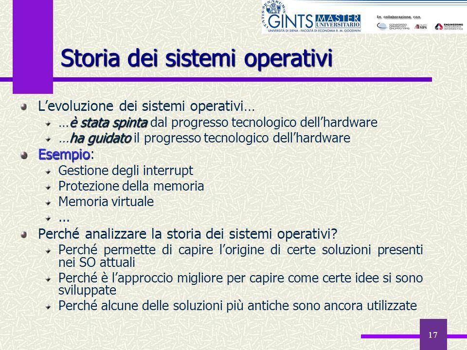 17 Storia dei sistemi operativi Levoluzione dei sistemi operativi… è stata spinta …è stata spinta dal progresso tecnologico dellhardware ha guidato …h