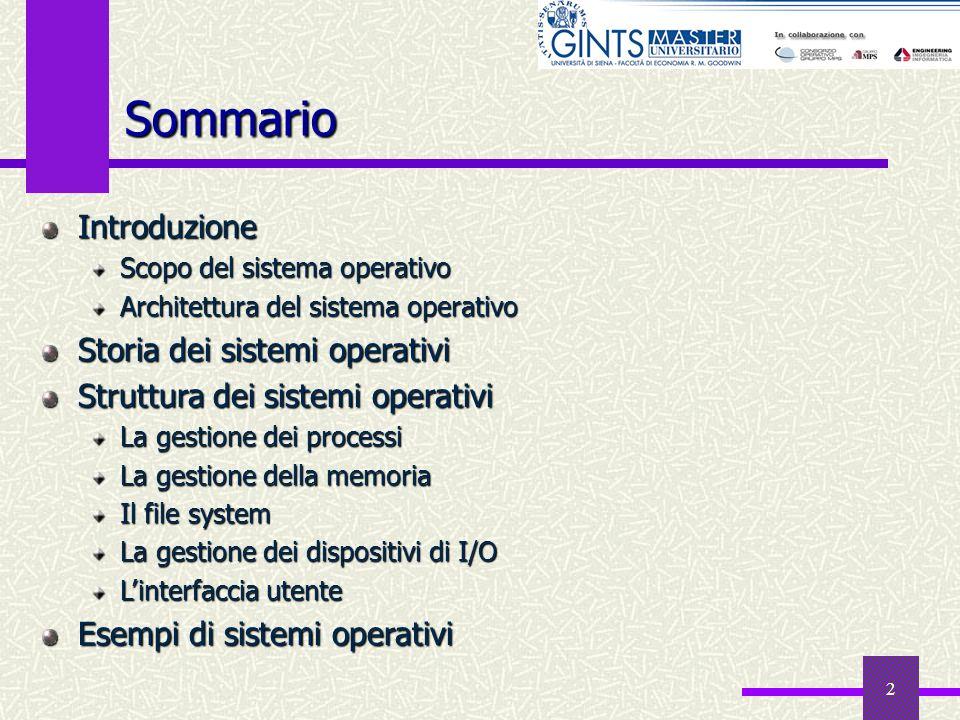 2 Sommario Introduzione Scopo del sistema operativo Architettura del sistema operativo Storia dei sistemi operativi Struttura dei sistemi operativi La
