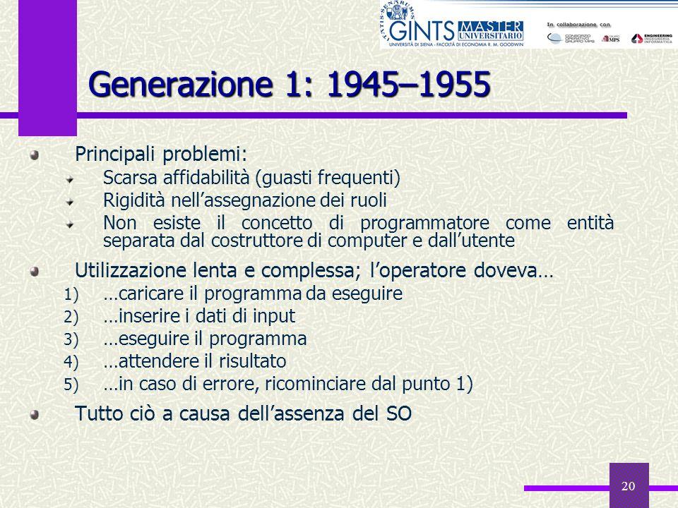 20 Generazione 1: 1945–1955 Principali problemi: Scarsa affidabilità (guasti frequenti) Rigidità nellassegnazione dei ruoli Non esiste il concetto di