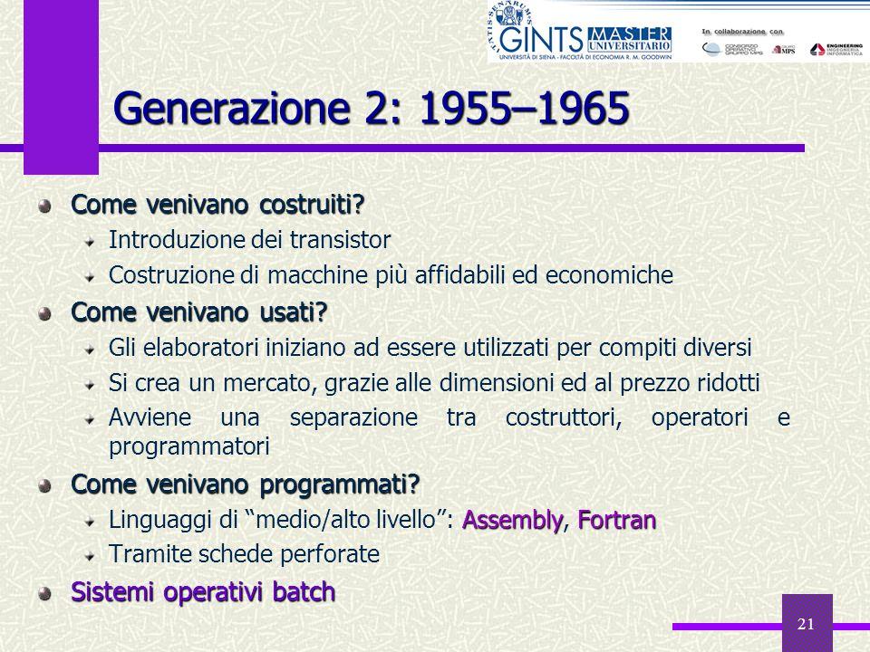 21 Generazione 2: 1955–1965 Come venivano costruiti? Introduzione dei transistor Costruzione di macchine più affidabili ed economiche Come venivano us