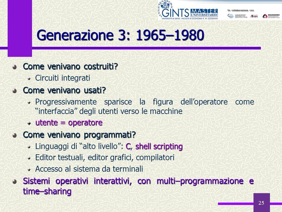 25 Generazione 3: 1965–1980 Come venivano costruiti? Circuiti integrati Come venivano usati? Progressivamente sparisce la figura delloperatore come in