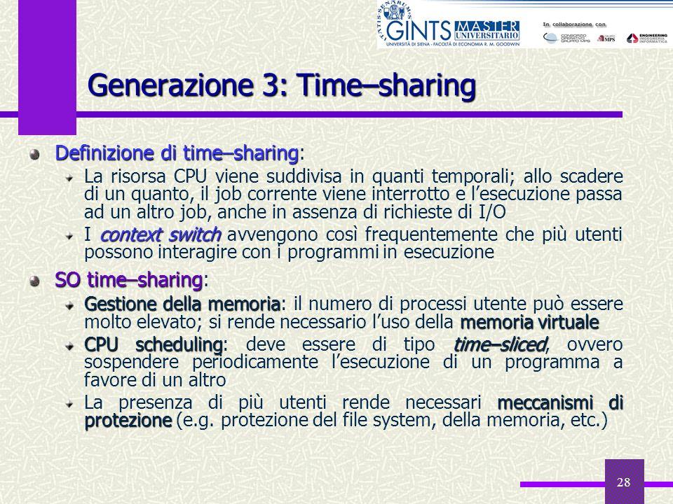 28 Generazione 3: Time–sharing Definizionedi time–sharing Definizione di time–sharing: La risorsa CPU viene suddivisa in quanti temporali; allo scader