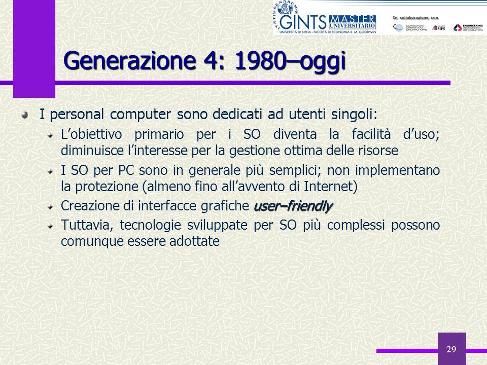 29 Generazione 4: 1980–oggi I personal computer sono dedicati ad utenti singoli: Lobiettivo primario per i SO diventa la facilità duso; diminuisce lin