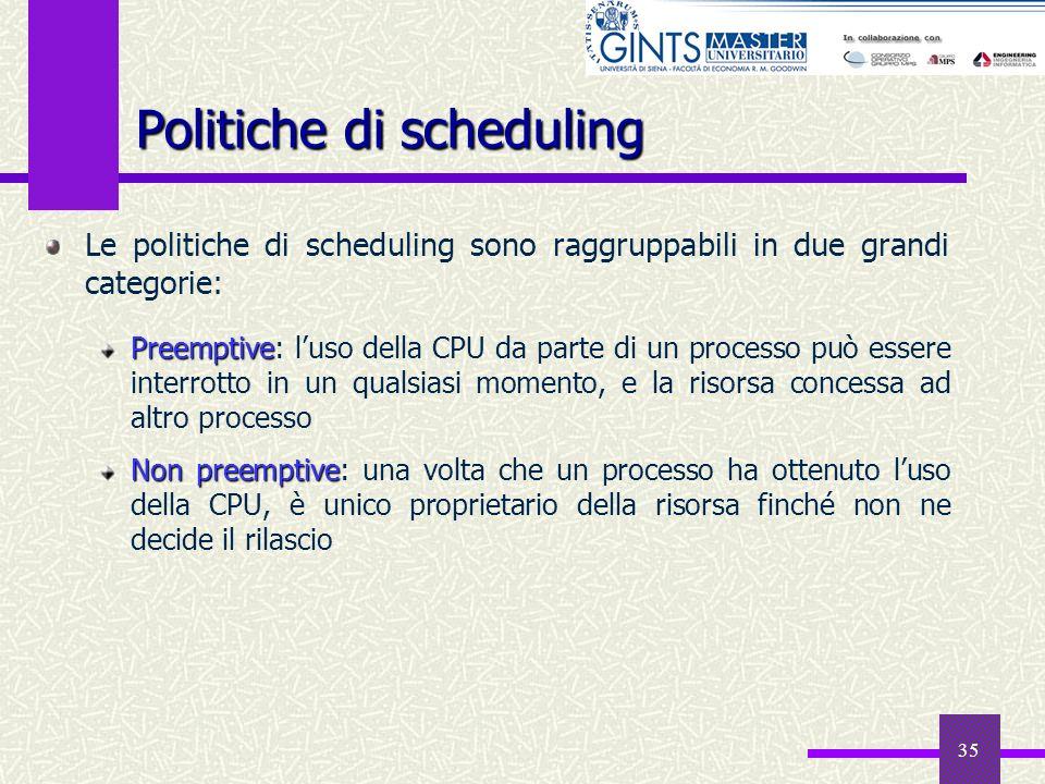 35 Le politiche di scheduling sono raggruppabili in due grandi categorie: Preemptive Preemptive: luso della CPU da parte di un processo può essere int