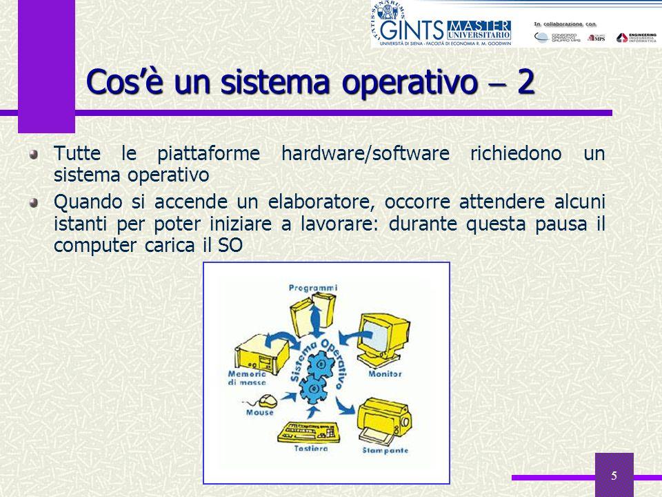 5 Tutte le piattaforme hardware/software richiedono un sistema operativo Quando si accende un elaboratore, occorre attendere alcuni istanti per poter