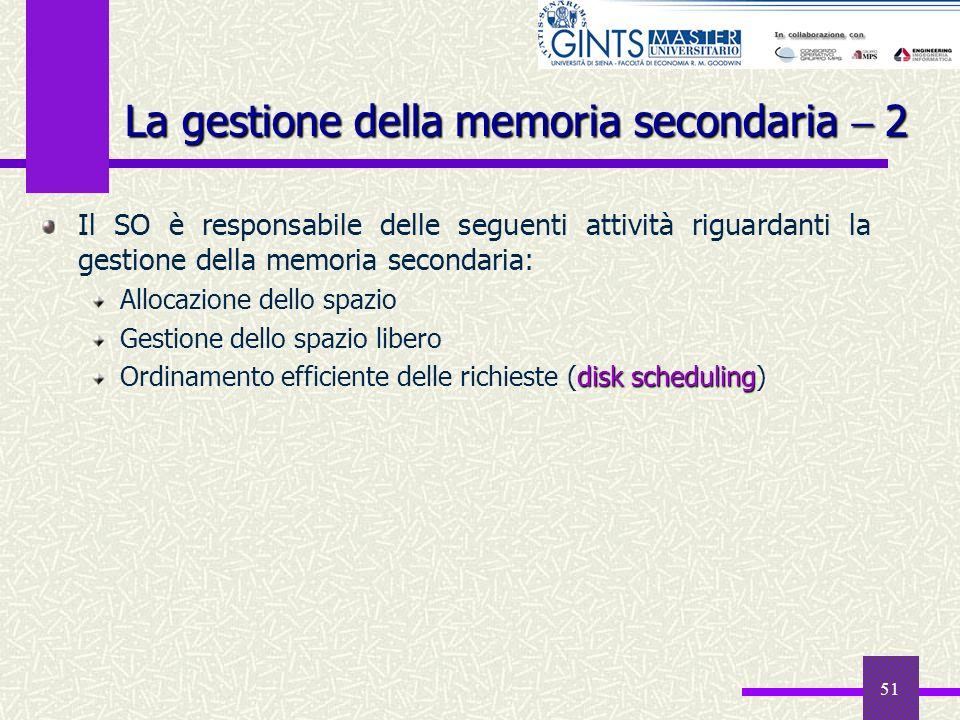 51 La gestione della memoria secondaria 2 Il SO è responsabile delle seguenti attività riguardanti la gestione della memoria secondaria: Allocazione d