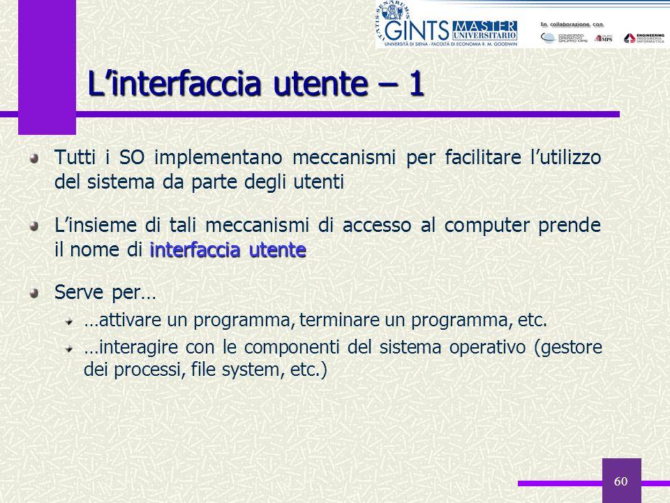 60 Linterfaccia utente – 1 Tutti i SO implementano meccanismi per facilitare lutilizzo del sistema da parte degli utenti interfaccia utente Linsieme d