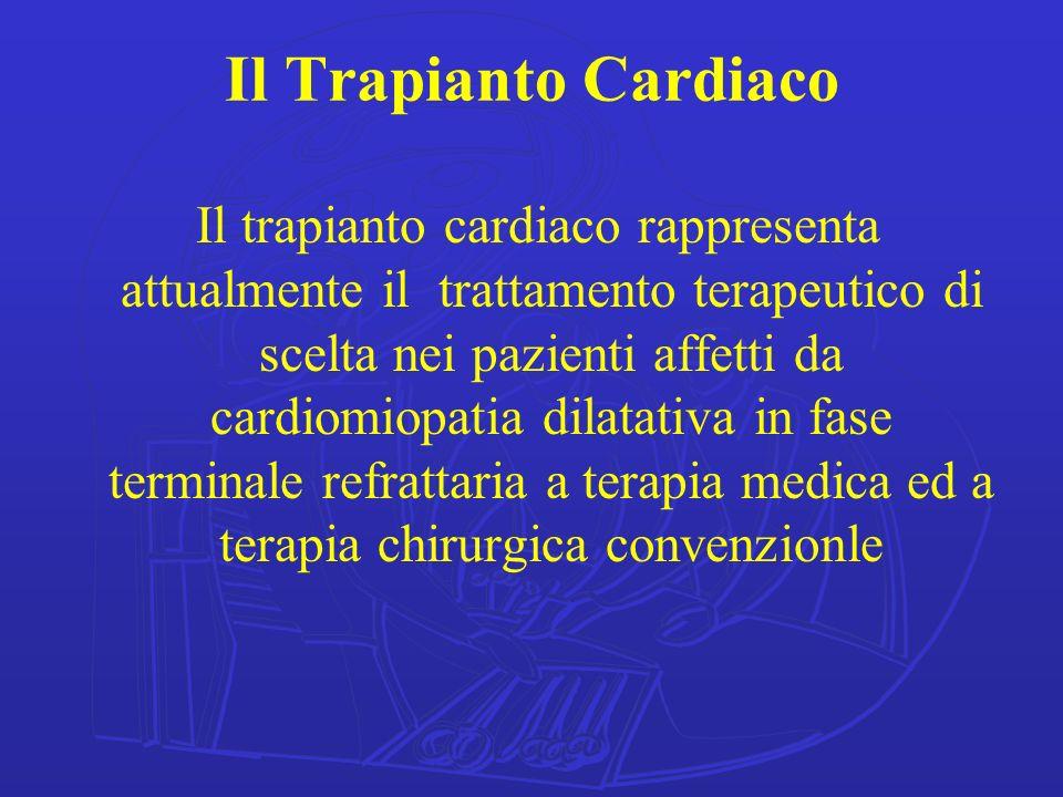 Il Trapianto Cardiaco Il trapianto cardiaco rappresenta attualmente il trattamento terapeutico di scelta nei pazienti affetti da cardiomiopatia dilata
