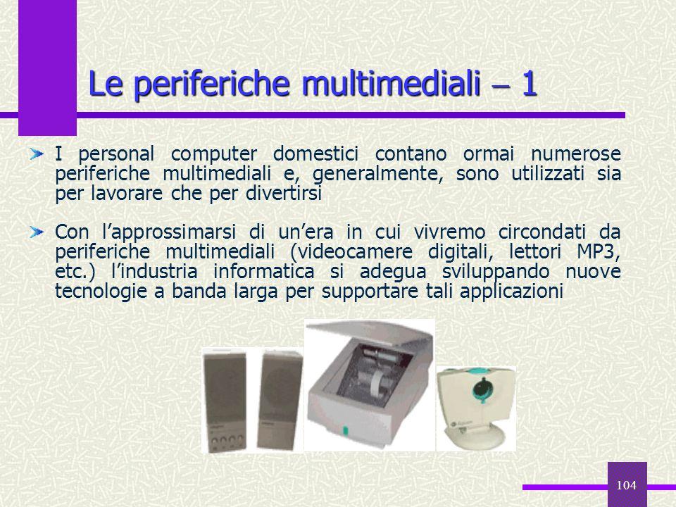 104 Le periferiche multimediali 1 I personal computer domestici contano ormai numerose periferiche multimediali e, generalmente, sono utilizzati sia p