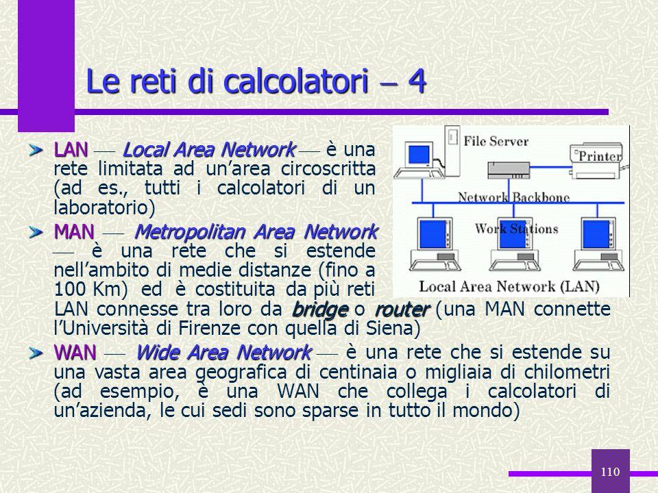110 Le reti di calcolatori 4 bridgerouter LAN connesse tra loro da bridge o router (una MAN connette lUniversità di Firenze con quella di Siena) WANWi