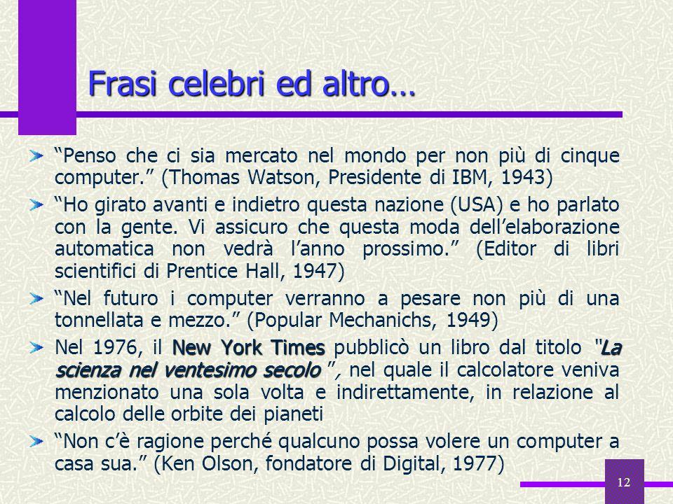 12 Frasi celebri ed altro… Penso che ci sia mercato nel mondo per non più di cinque computer. (Thomas Watson, Presidente di IBM, 1943) Ho girato avant
