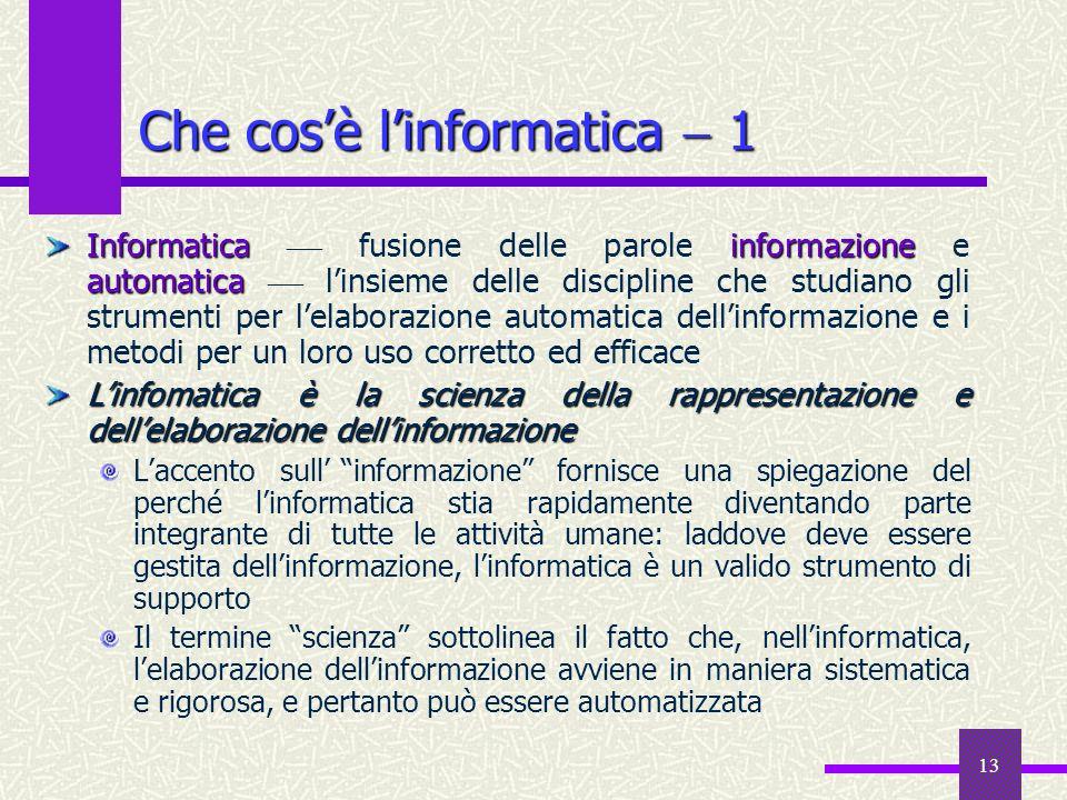 13 Che cosè linformatica 1 Informatica informazione automatica Informatica fusione delle parole informazione e automatica linsieme delle discipline ch