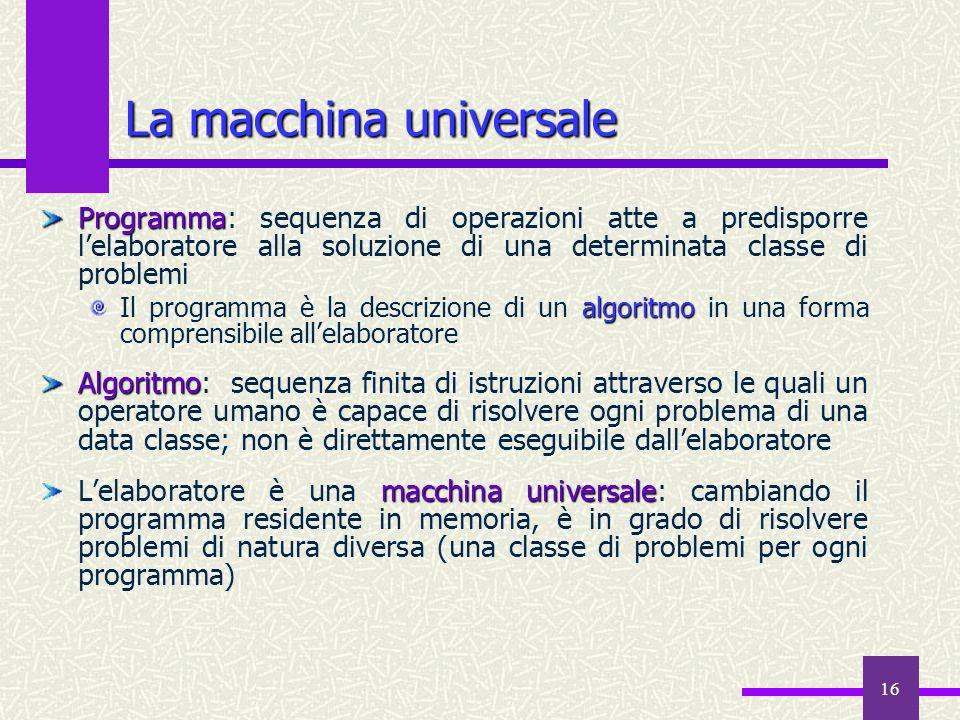 16 La macchina universale Programma Programma: sequenza di operazioni atte a predisporre lelaboratore alla soluzione di una determinata classe di prob