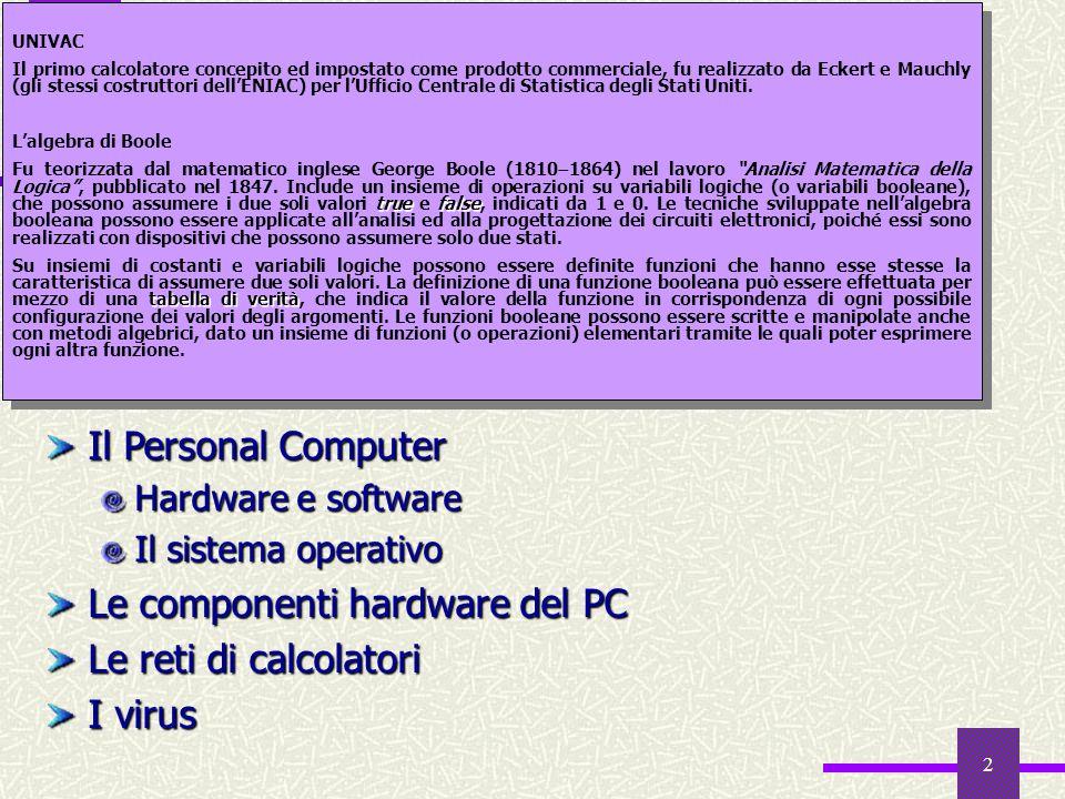2 Sommario Introduzione Cenni storici Che cosè linformatica Larchitettura di Von Neumann: la macchina universale Il Personal Computer Hardware e softw