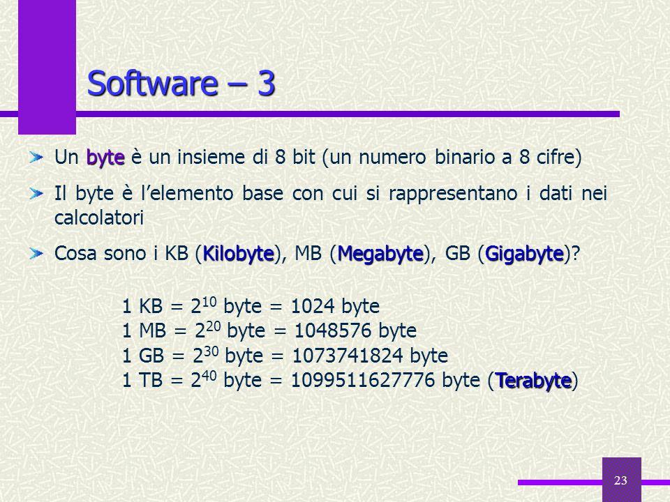 23 Software – 3 byte Un byte è un insieme di 8 bit (un numero binario a 8 cifre) Il byte è lelemento base con cui si rappresentano i dati nei calcolat
