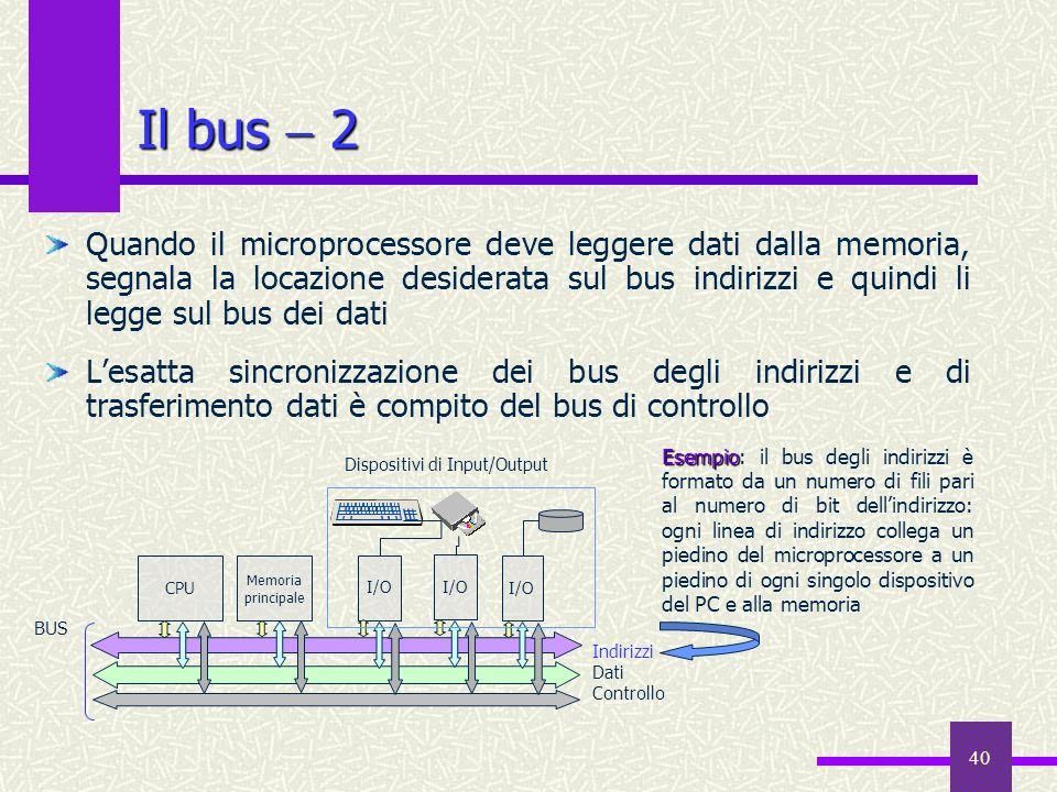 40 Il bus 2 Quando il microprocessore deve leggere dati dalla memoria, segnala la locazione desiderata sul bus indirizzi e quindi li legge sul bus dei