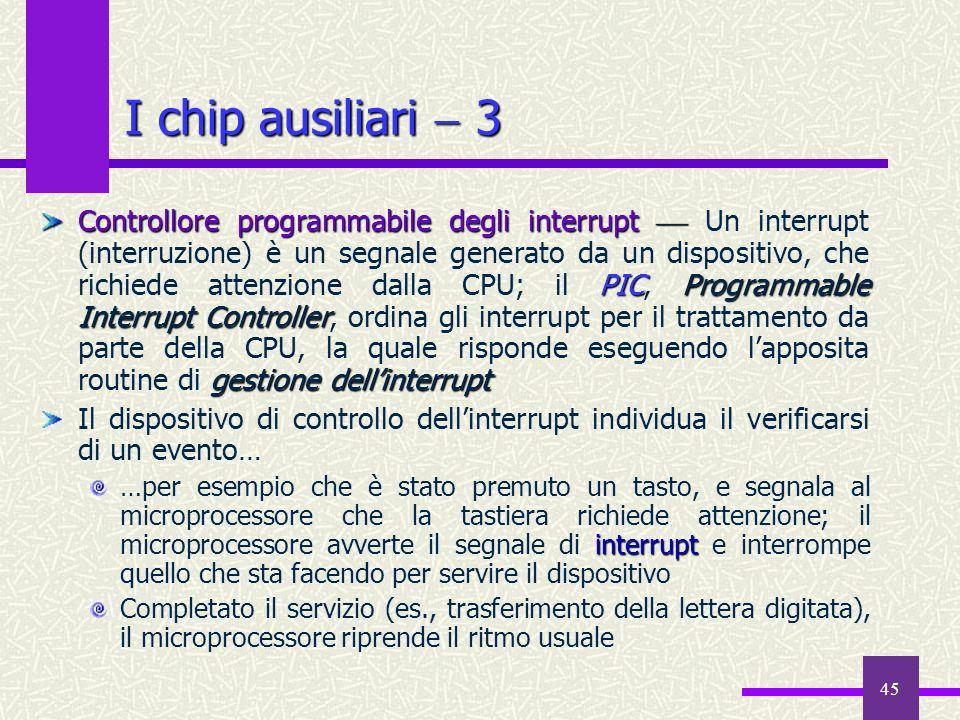 45 I chip ausiliari 3 Controllore programmabile degli interrupt PIC Programmable Interrupt Controller gestione dellinterrupt Controllore programmabile
