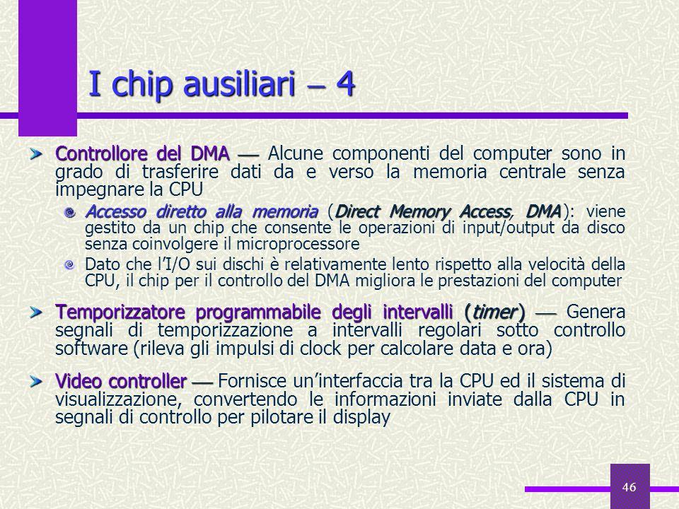 46 Controllore del DMA Controllore del DMA Alcune componenti del computer sono in grado di trasferire dati da e verso la memoria centrale senza impegn