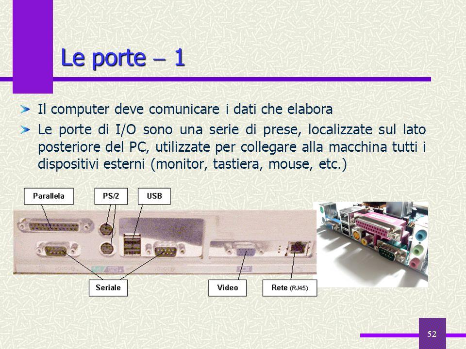 52 Le porte 1 Il computer deve comunicare i dati che elabora Le porte di I/O sono una serie di prese, localizzate sul lato posteriore del PC, utilizza