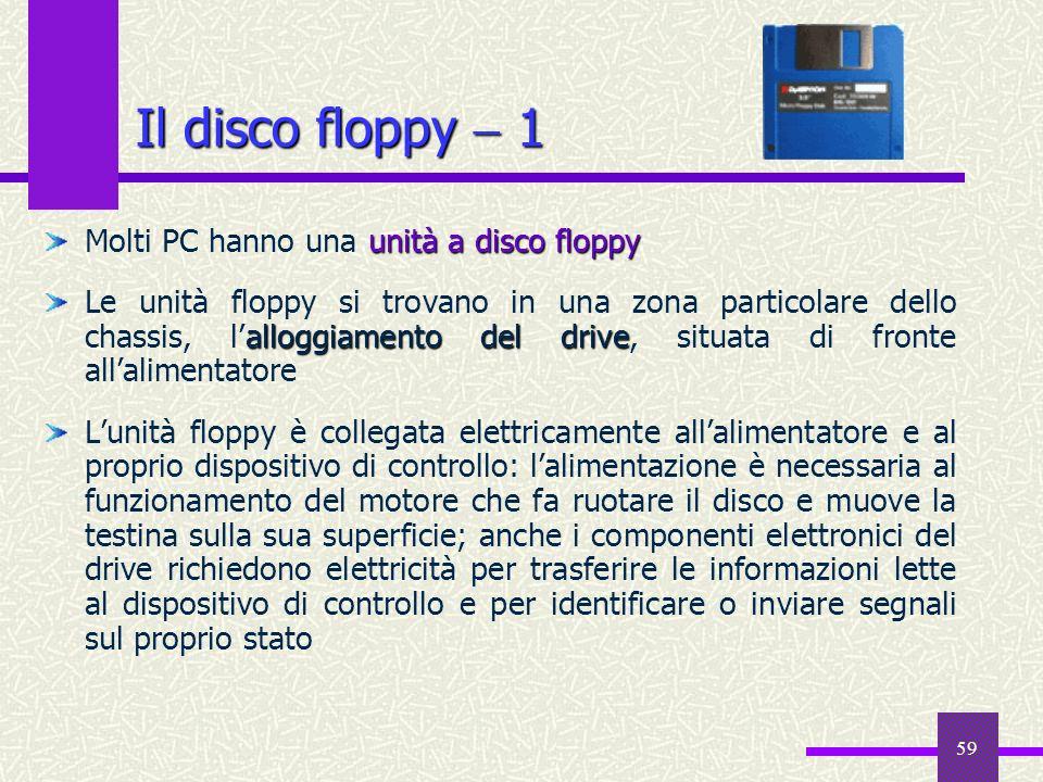 59 Il disco floppy 1 unità a disco floppy Molti PC hanno una unità a disco floppy alloggiamento del drive Le unità floppy si trovano in una zona parti