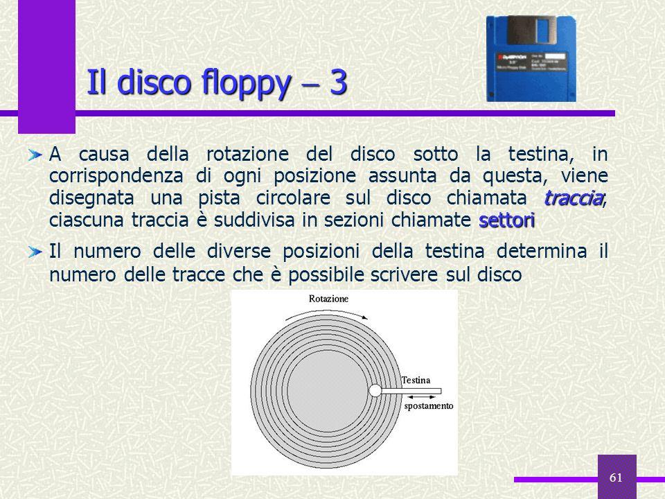 61 traccia settori A causa della rotazione del disco sotto la testina, in corrispondenza di ogni posizione assunta da questa, viene disegnata una pist
