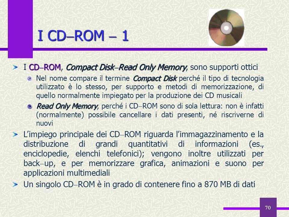 70 I CD ROM 1 CD ROMCompact Disk Read Only Memory I CD ROM, Compact Disk Read Only Memory, sono supporti ottici Compact Disk Nel nome compare il termi