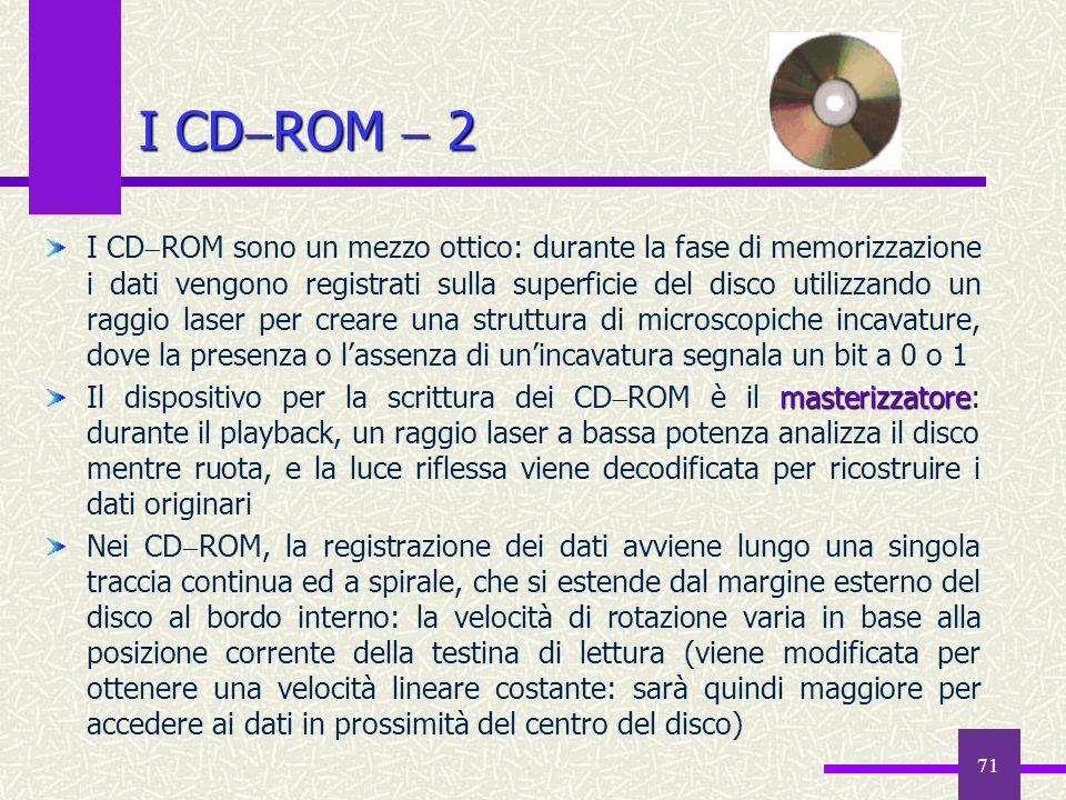 71 I CD ROM 2 I CD ROM sono un mezzo ottico: durante la fase di memorizzazione i dati vengono registrati sulla superficie del disco utilizzando un rag