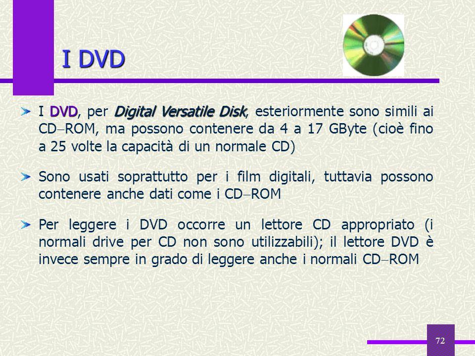 72 I DVD DVDDigital Versatile Disk I DVD, per Digital Versatile Disk, esteriormente sono simili ai CD ROM, ma possono contenere da 4 a 17 GByte (cioè