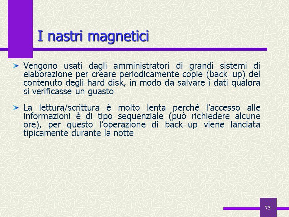 73 I nastri magnetici Vengono usati dagli amministratori di grandi sistemi di elaborazione per creare periodicamente copie (back up) del contenuto deg