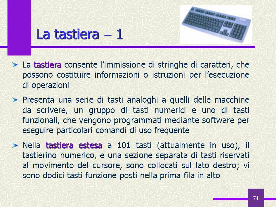 74 La tastiera 1 tastiera La tastiera consente limmissione di stringhe di caratteri, che possono costituire informazioni o istruzioni per lesecuzione