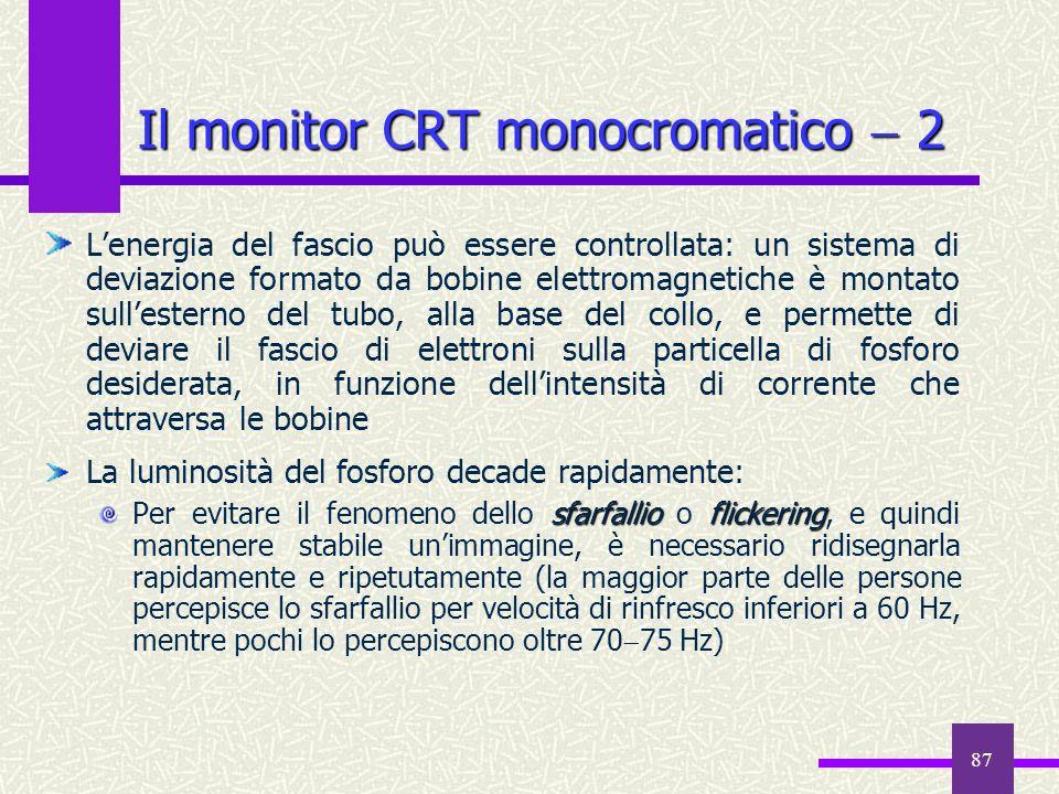 87 Il monitor CRT monocromatico 2 Lenergia del fascio può essere controllata: un sistema di deviazione formato da bobine elettromagnetiche è montato s