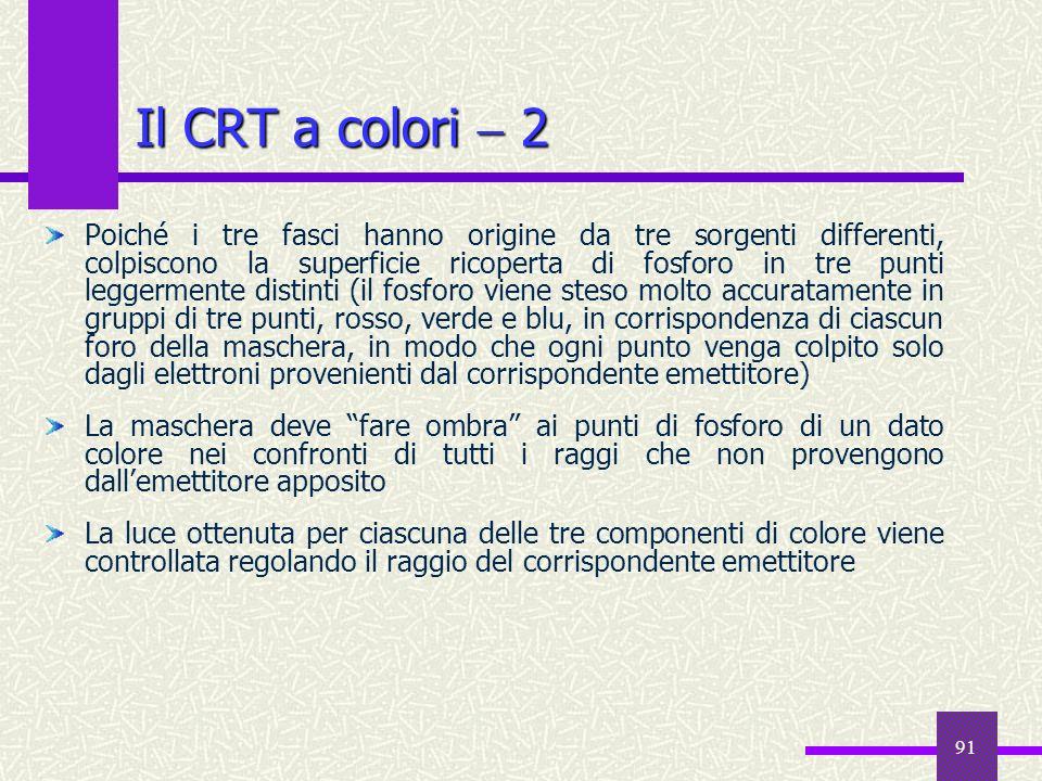 91 Il CRT a colori 2 Poiché i tre fasci hanno origine da tre sorgenti differenti, colpiscono la superficie ricoperta di fosforo in tre punti leggermen
