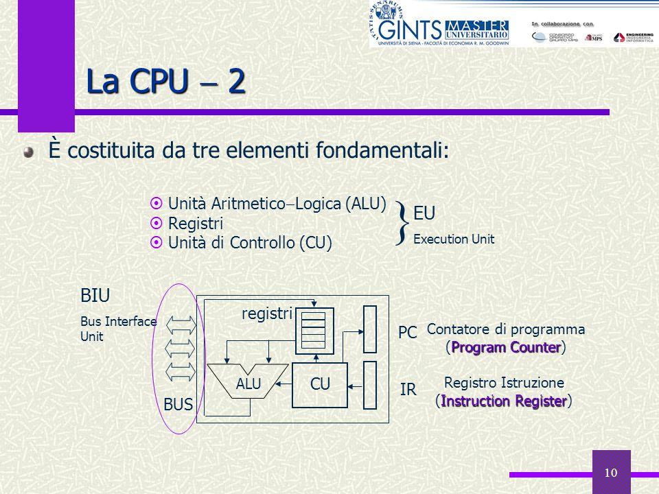10 La CPU 2 È costituita da tre elementi fondamentali: Unità Aritmetico Logica (ALU) Registri Unità di Controllo (CU) EU Execution Unit } ALU CU PC IR