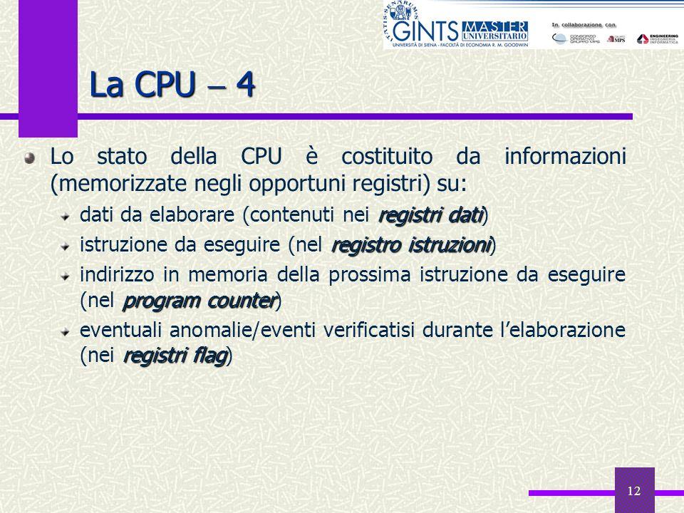 12 La CPU 4 Lo stato della CPU è costituito da informazioni (memorizzate negli opportuni registri) su: registri dati dati da elaborare (contenuti nei