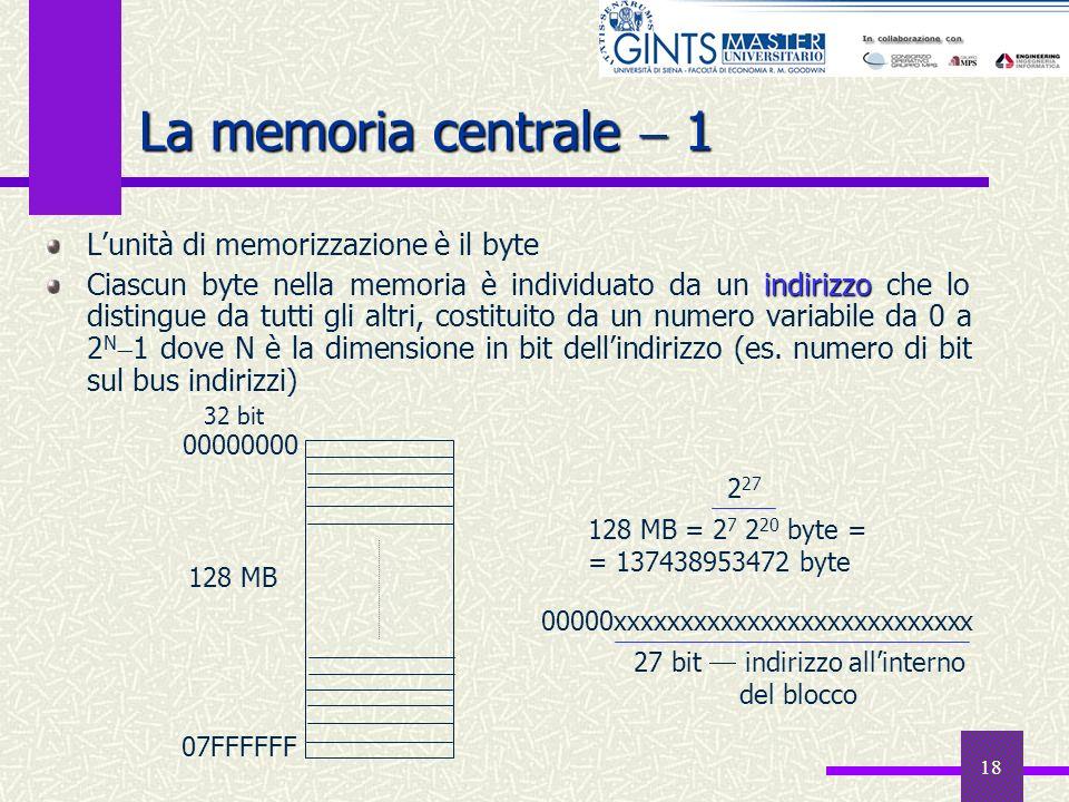 18 La memoria centrale 1 Lunità di memorizzazione è il byte indirizzo Ciascun byte nella memoria è individuato da un indirizzo che lo distingue da tut