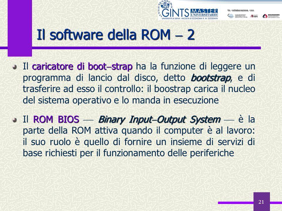 21 Il software della ROM 2 caricatore di boot strap bootstrap Il caricatore di boot strap ha la funzione di leggere un programma di lancio dal disco,