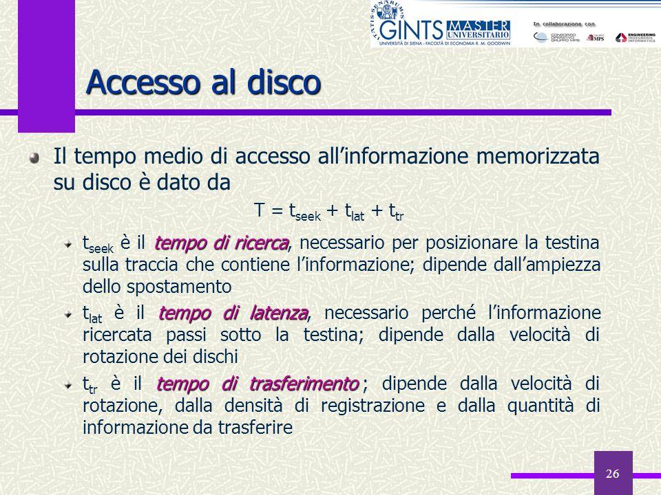 26 Accesso al disco Il tempo medio di accesso allinformazione memorizzata su disco è dato da tempo di ricerca t seek è il tempo di ricerca, necessario