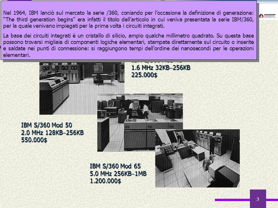 3 Il mercato informatico nel 1964 IBM S/360 Mod 40 1.6 MHz 32KB 256KB 225.000$ IBM S/360 Mod 50 2.0 MHz 128KB 256KB 550.000$ IBM S/360 Mod 65 5.0 MHz