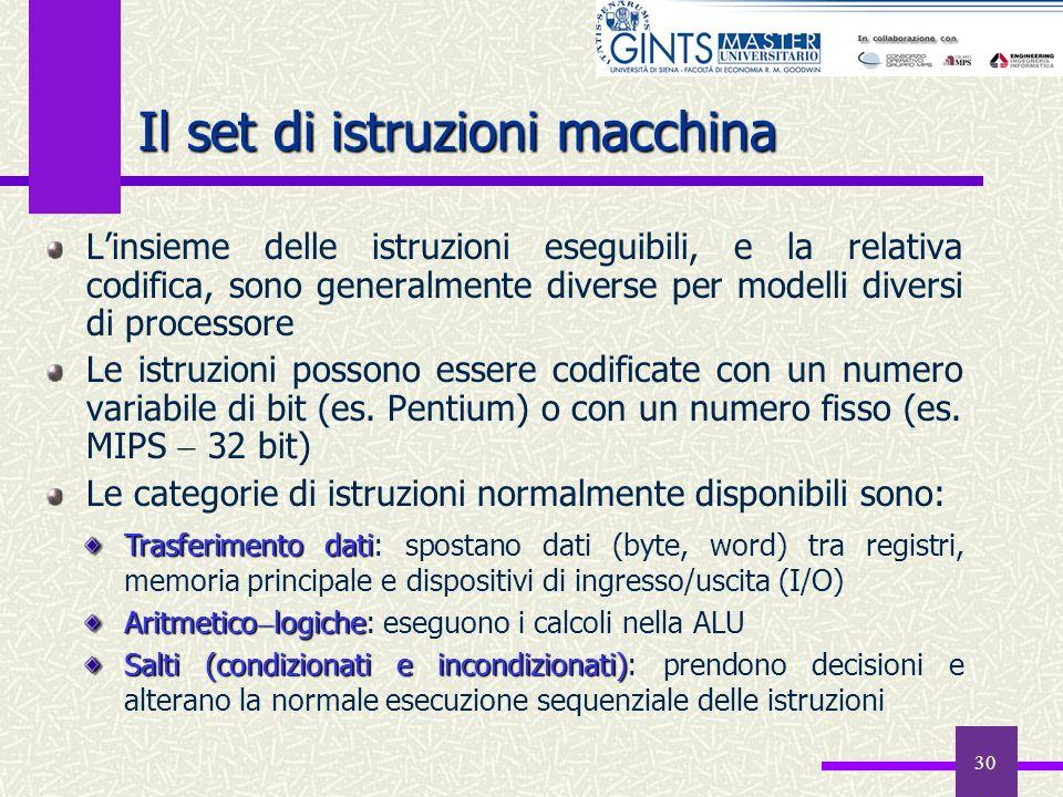 30 Il set di istruzioni macchina Linsieme delle istruzioni eseguibili, e la relativa codifica, sono generalmente diverse per modelli diversi di proces