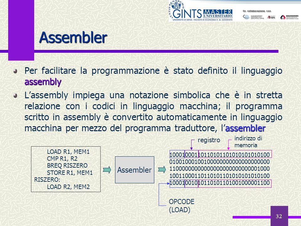 32 Assembler assembly Per facilitare la programmazione è stato definito il linguaggio assembly assembler Lassembly impiega una notazione simbolica che