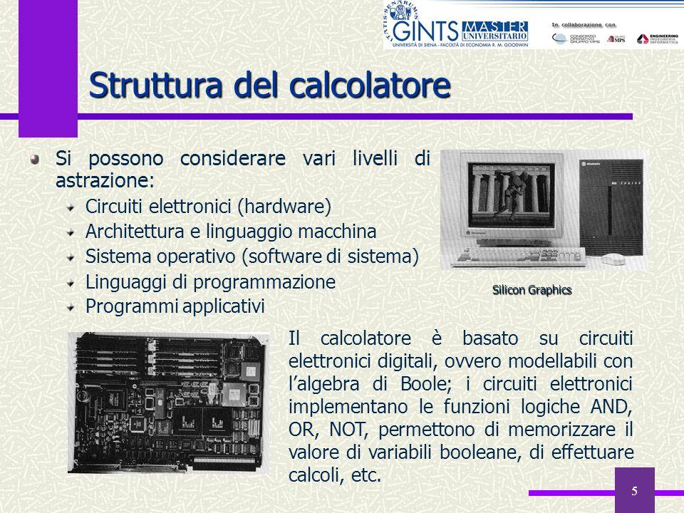 5 Struttura del calcolatore Si possono considerare vari livelli di astrazione: Circuiti elettronici (hardware) Architettura e linguaggio macchina Sist