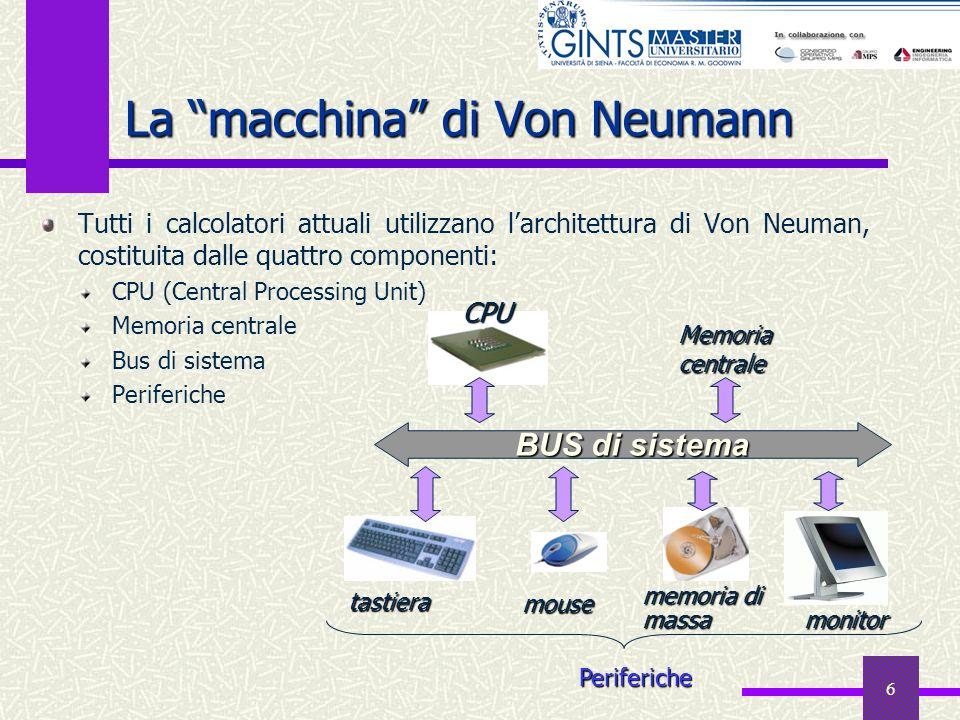 6 Tutti i calcolatori attuali utilizzano larchitettura di Von Neuman, costituita dalle quattro componenti: CPU (Central Processing Unit) Memoria centr