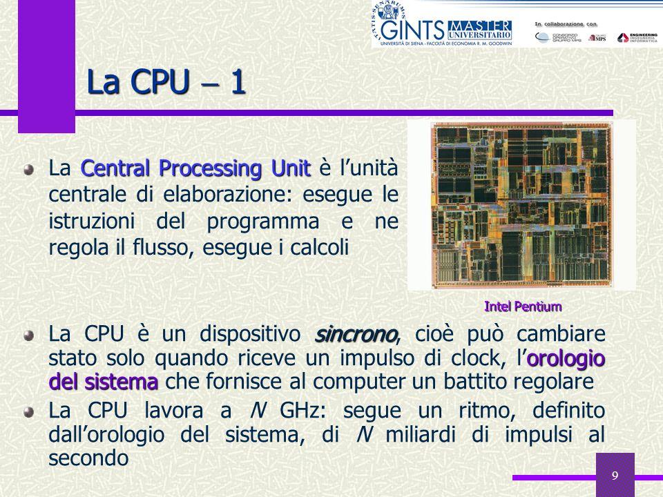 9 La CPU 1 sincrono orologio del sistema La CPU è un dispositivo sincrono, cioè può cambiare stato solo quando riceve un impulso di clock, lorologio d