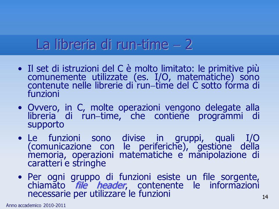 Anno accademico 2010-2011 Il set di istruzioni del C è molto limitato: le primitive più comunemente utilizzate (es. I/O, matematiche) sono contenute n