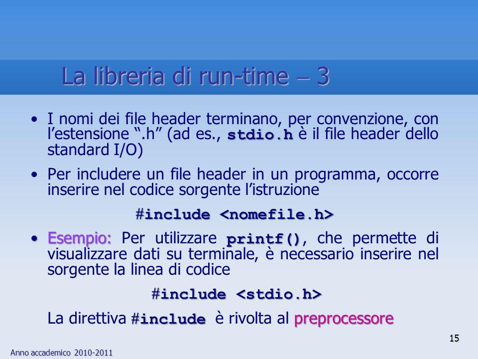 Anno accademico 2010-2011 stdio.hI nomi dei file header terminano, per convenzione, con lestensione.h (ad es., stdio.h è il file header dello standard I/O) Per includere un file header in un programma, occorre inserire nel codice sorgente listruzione include include Esempio: printf()Esempio: Per utilizzare printf(), che permette di visualizzare dati su terminale, è necessario inserire nel sorgente la linea di codice include include include preprocessore La direttiva include è rivolta al preprocessore 15 La libreria di run-time 3