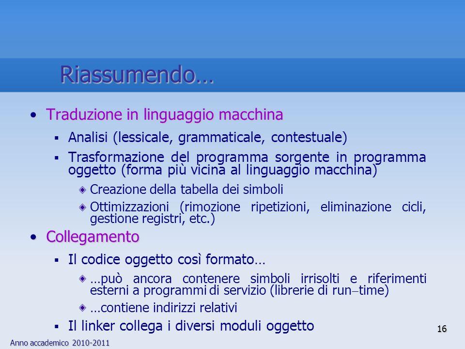 Anno accademico 2010-2011 Traduzione in linguaggio macchinaTraduzione in linguaggio macchina Analisi (lessicale, grammaticale, contestuale) Trasformaz